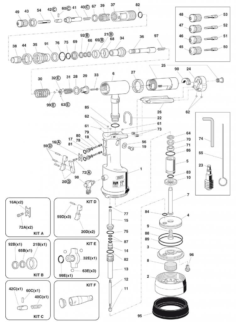 FAR KJ60 Tool Spares 1 Diagram Mettex Air Tools