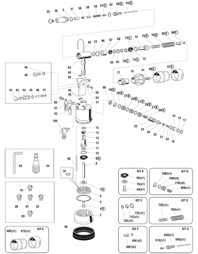 FAR RAC180 Spares Diagram Mettex Air Tools
