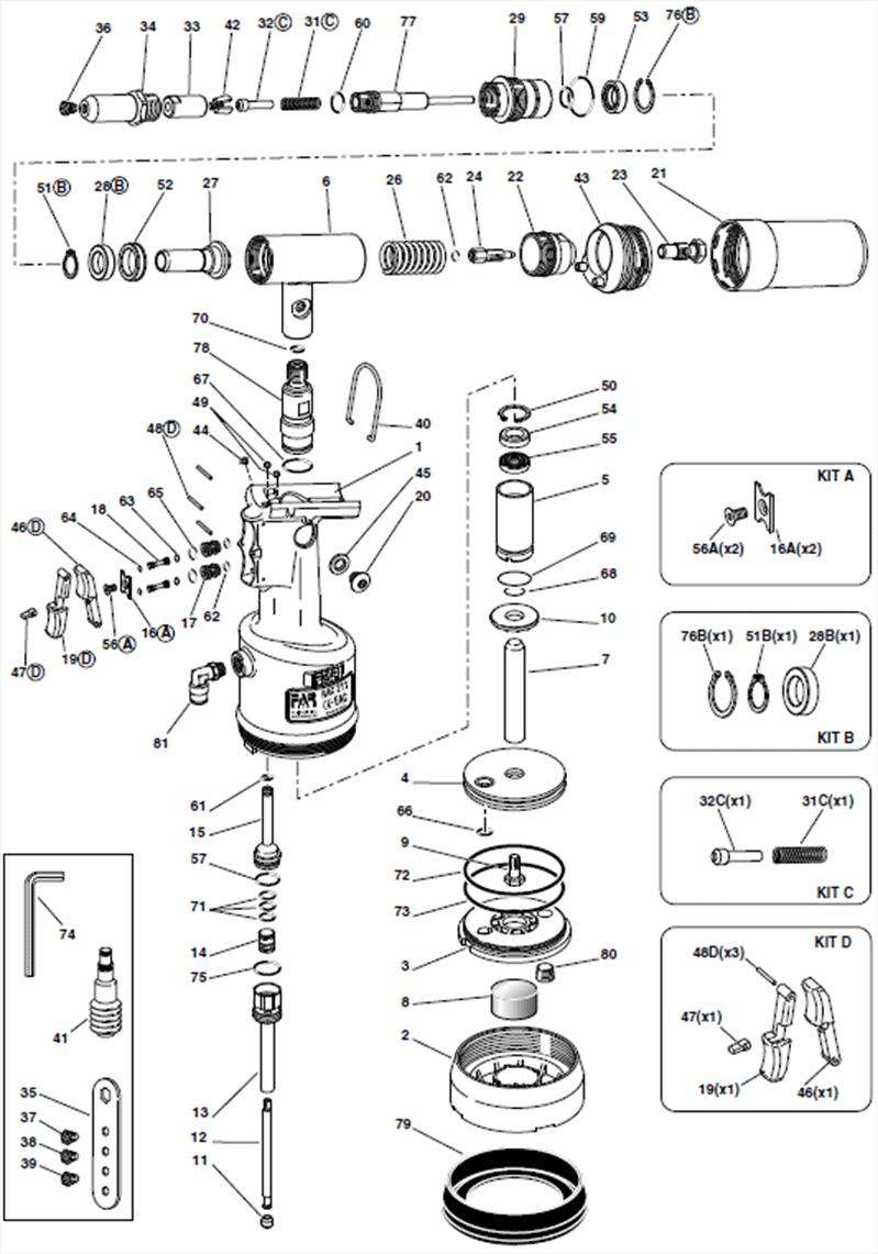 FAR RAC211 Spares Diagram Mettex Air Tools